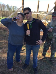 Russ wanted to point out that he was the one with a hammer and my mom was the one with a beer (for once).
